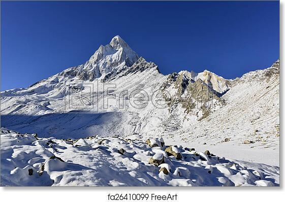 Free art print of Dramatic Mount Shivling in the western Garhwal Himalaya,  Uttarakhand, Uttaranchal, India