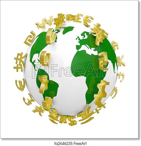 Free art print of Global World Currency Symbols Around World