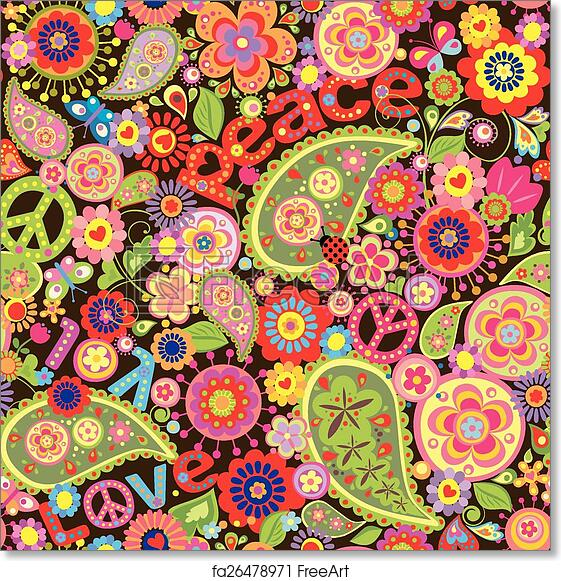 Free art print of Hippie wallpaper. Hippie wallpaper with colorful spring flowers and paisley | FreeArt | fa26478971
