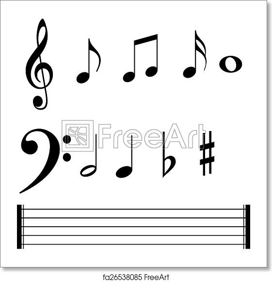Free Art Print Of Music Note Symbols And Lines Vector Set Of Music