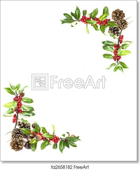 free art print of holly and red berries border christmas winter