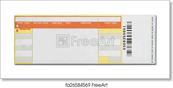 free art print of blank concert ticket orange and yellow event