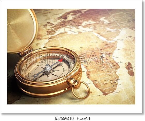Free Art Print Of Vintage Compass On The Old World Map Travel