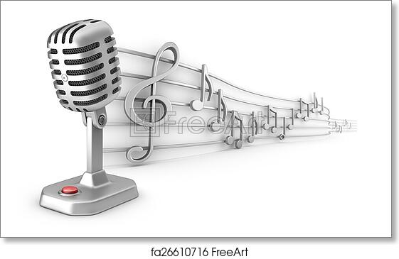 Free Art Print Of Microphone And Musical Notes Staff Microphone And