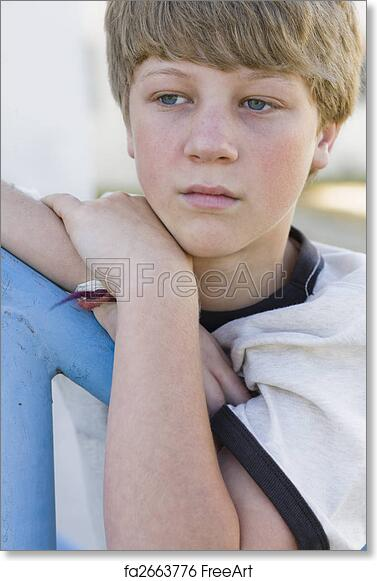 free art print of boy leaning on railing portrait of tween boy