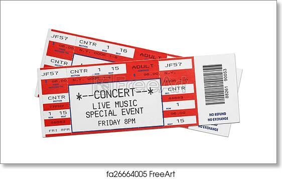 free art print of red concert tickets pair of blank red concert