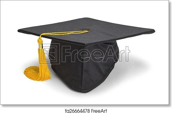 e05213c74 Free art print of Resting Black Grad Hat. Black Graduation Hat with Gold  Tassel Isolated on White Background. | FreeArt | fa26664478