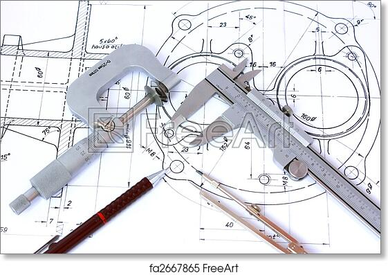 Free art print of micrometer caliper mechanical pencil and compass free art print of micrometer caliper mechanical pencil and compass on blueprint malvernweather Choice Image