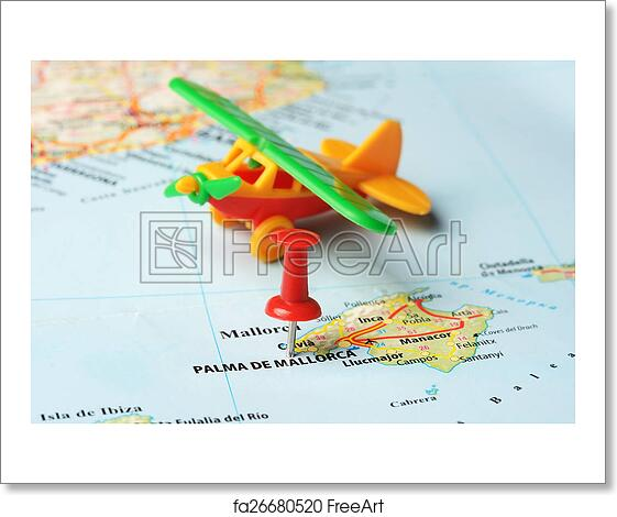 Free Art Print Of Palma De Mallorca Spain Map Airplane Close Up Of