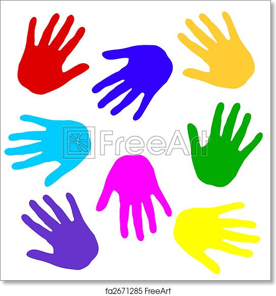 photo regarding Printable Handprints known as Absolutely free artwork print of Colourful handprints