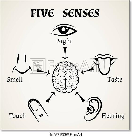 image regarding Give Me Five Poster Printable Free identify No cost artwork print of 5 senses icons