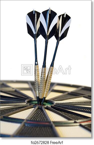 free art print of darts darts hitting the bullseye on a dartboard