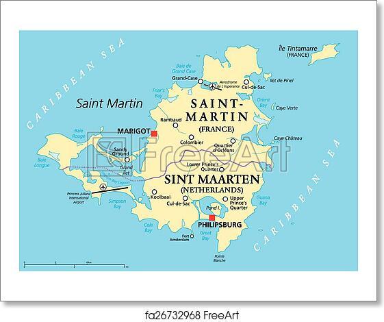 Free art print of Saint Martin Island Political Map. Saint Martin ...