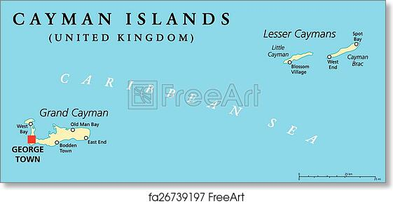 photo regarding Printable Map of Grand Cayman known as Free of charge artwork print of Cayman Islands Political Map