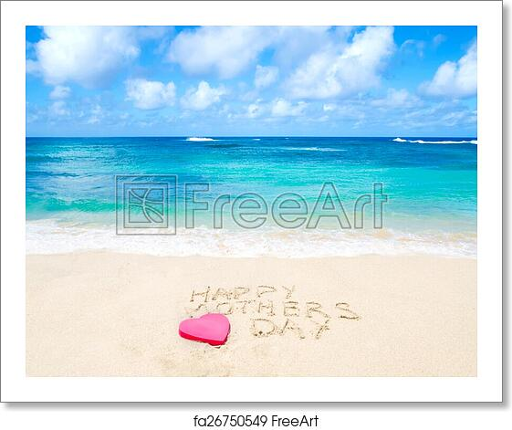 free art print of sign happy mothers day on the beach sign happy mothers day on the sandy. Black Bedroom Furniture Sets. Home Design Ideas