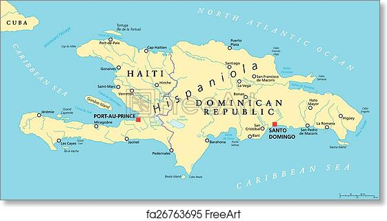 Free art print of Hispaniola Political Map with Haiti Hispaniola