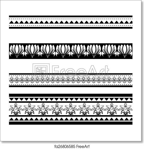 Free Art Print Of Illustration Of Black Polynesian Armband Tattoo