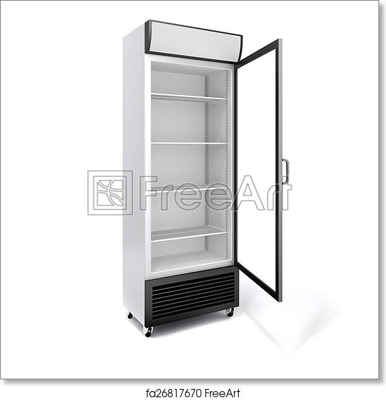 Free Art Print Of 3d Commercial Fridge With Glass Door On White