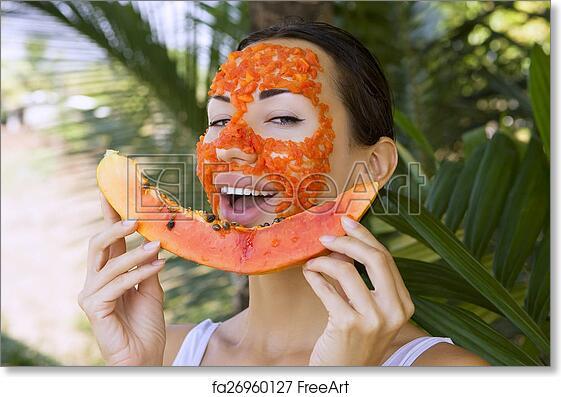 Free Art Print Of Beautiful Woman Having Papaya Facial Mask Apply Healthy Food