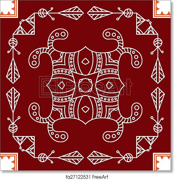 Free Art Print Of Folk Tribal Design Motif Wall Painting