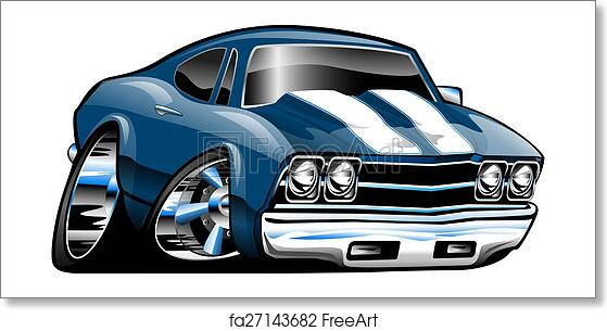 Free Art Print Of Classic American Muscle Car Cartoon Classic