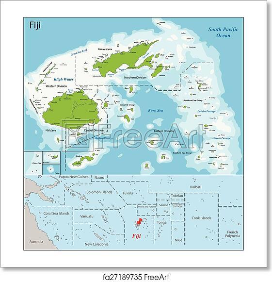 Free Art Print Of Fiji Map Fiji Is An Island Country In Melanesia