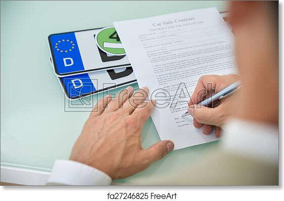 free art print of businessman filling car sale contract form