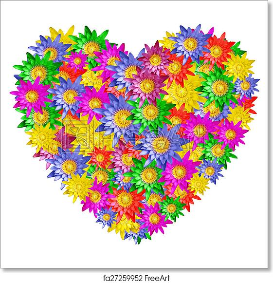 Free art print of heart shape of colorful lotus flower heart shape free art print of heart shape of colorful lotus flower mightylinksfo