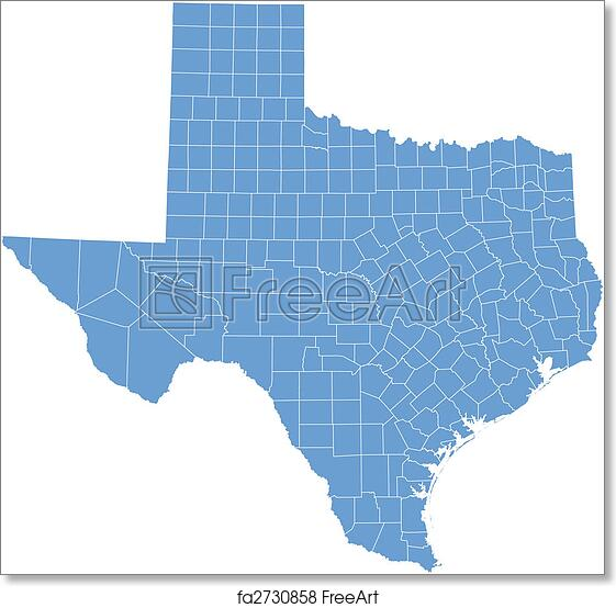 Free Printable Map Of Texas.Free Art Print Of Texas Map Texas Map By Counties Freeart Fa2730858