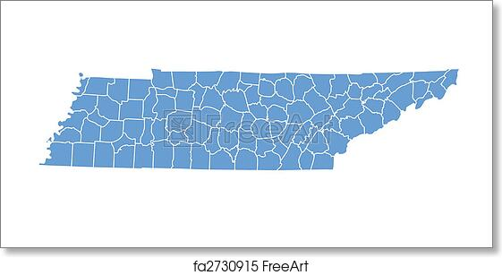 graphic relating to Printable Map of Tennessee Counties called Totally free artwork print of Tennessee map
