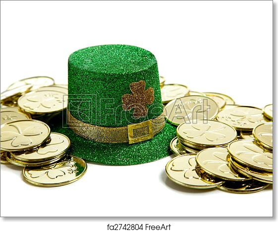 Free Art Print Of St Patricks Day Decoration With Gold Coins And A Hat