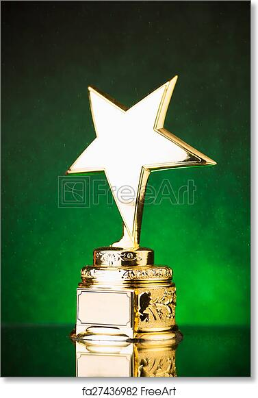 Free Art Print Of Gold Star Trophy Against Green Particles Background