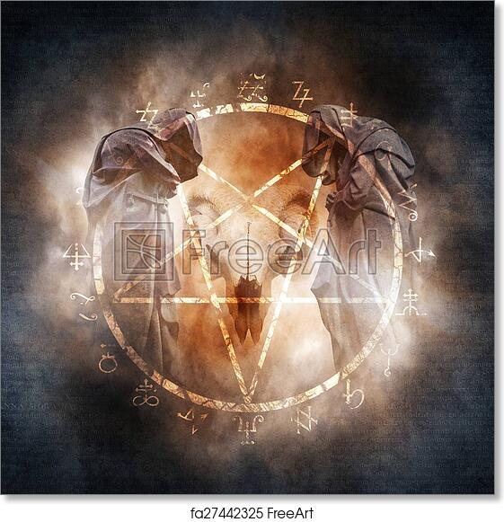 Free Art Print Of Black Magic Ritual Two Hooded Figures And A