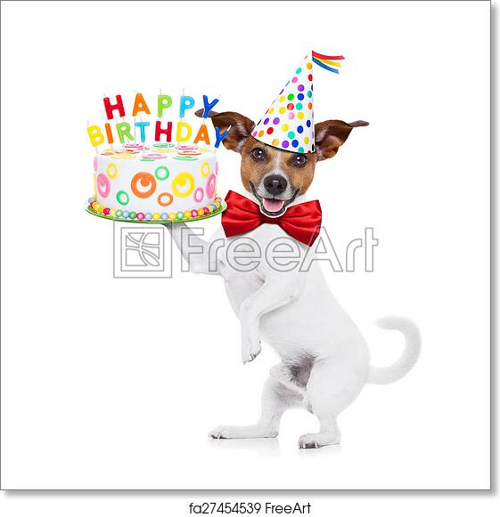 Free Art Print Of Happy Birthday Dog Jack Russell Holding A Cake With Candels Red Tie And Party Hat On Isolated White Background