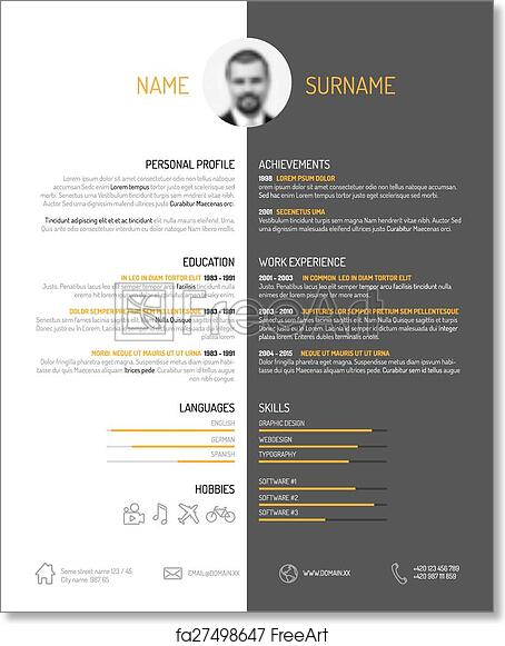 Free Art Print Of Cv Resume Template Vector Minimalist Cv