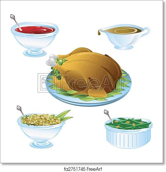 free art print of thanksgiving dinner icons illustrations of
