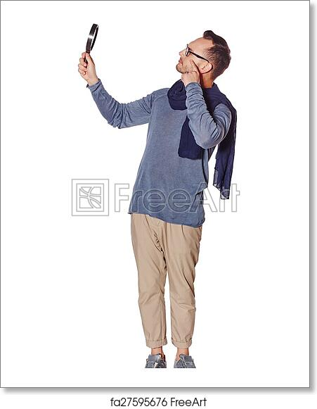 Free Art Print Of Serious Man Looking Through Magnifying Glass Search Concept Side View Of Full Length Serious Man Looking Through Magnifying Glass At Blank Copy Space Over White Background Freeart