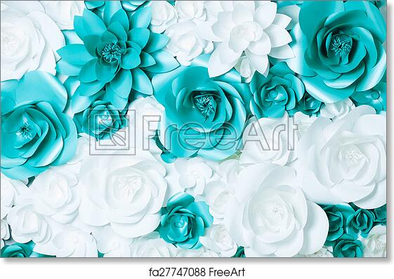 Free Art Print Of Background Of Flowers Background Of Turquoise And