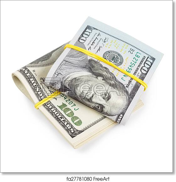 photo relating to Free Printable Money Bands named Cost-free artwork print of Hundred Greenback charges folded