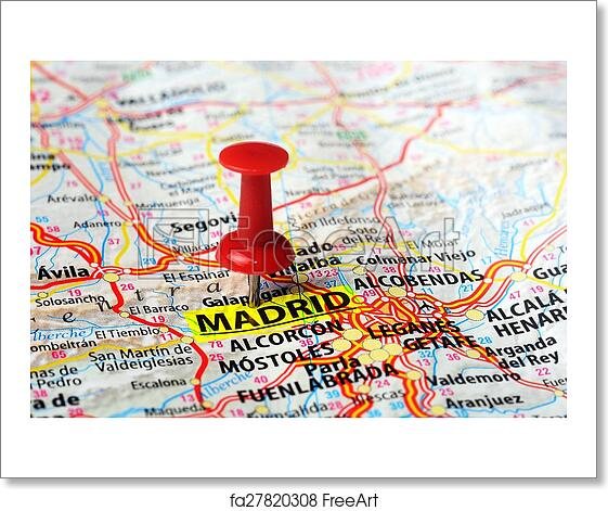 Free art print of Madrid, Spain map. Close up of Madrid, Spain map ...