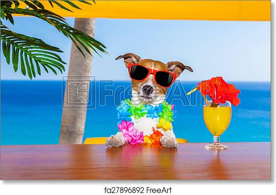 Free Art Print Of Drunk Dog Funny Cool Drinking Cocktails At The Bar In A Beach Club Party With Ocean View On Summer Vacation Holidays