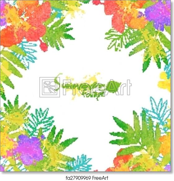 Free art print of Bright tropical flowers vector summer frame ...