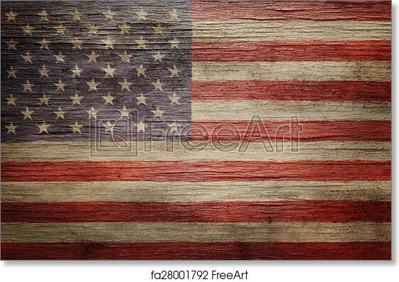 free art print of worn vintage american flag background freeart