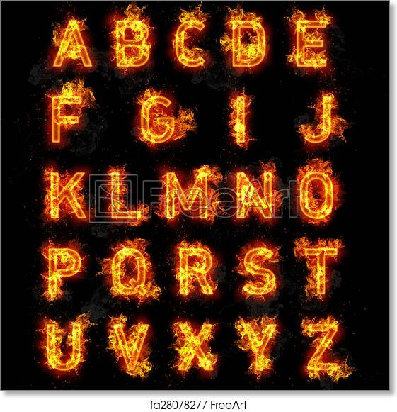 Free art print of Fire font text all letters of alphabet on black background