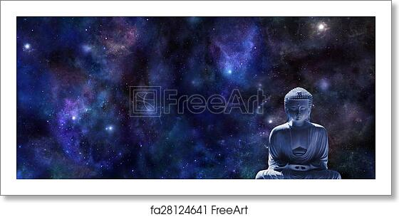 Free Art Print Of Mindfulness Meditation Banner Wide Dark Blue Night Sky Background With Planets And Stars And A Statue Of Buddha In Lotus Position In Bottom Right Corner With Plenty Of