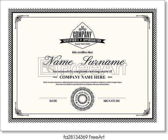 free art print of retro frame certificate of appreciation template