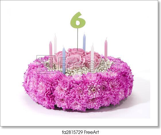Free Art Print Of Flowers Birthday Cake
