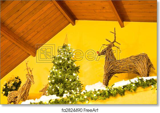 Free Art Print Of Indoor Christmas Scene Featuring Tree And Raindeer