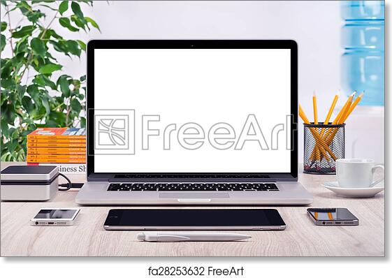 free art print of workplace with open laptop mockup workplace with