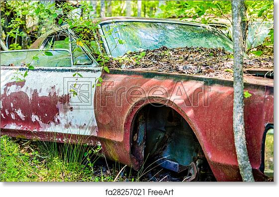 Free Art Print Of No Wheel Old Red Car In Woods With Wheel Missing